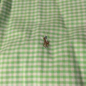 Ralph Lauren 2XLT button down green check EUC